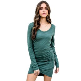 Sexy Women Mini Bodycon Dress O Neck Ruched Details Long Sleeve Dress  Bandage Party Clubwear Black Dark Green Spring Clothes 28e3aaf74e8e