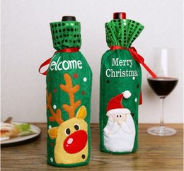 Wrapping Paper Gift Sets Australia - 3pcs set Christmas Wine Bottle Decor Set Santa Claus Snowman Deer Bottle Cover Clothes Kitchen Decoration for New Year Xmas Dinner Party