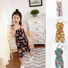 Discount girls floral jumpsuit suspender trousers - 2018 Summer Baby Kids Clothes Girl's Floral Print Jumpsuit Suspender Trousers Pant 100% Cotton Fashion Flower Child