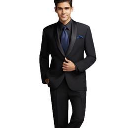 $enCountryForm.capitalKeyWord Canada - Black Groom Tuxedos Men Suits for Wedding Terno Masculino Groomsmen Suits Slim Fit Best Man Blazers 2 Pieces Jacket Black Satin Shawl Lapel