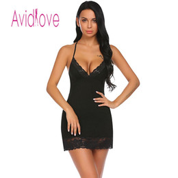 36fddba00b Avidlove Night Dress Women Sleepwear Nighty Nightgown Sexy Lingerie Babydoll  Chemise Lace-trimmed Nightwear with G-String