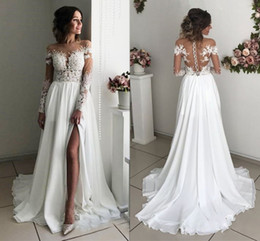 Wholesale 2019 Long Sleeves Boho Wedding Dresses Sheer Neck Appliques Chiffon Side Split Bridal Dresses Sexy Beach Bohemian Wedding Gowns