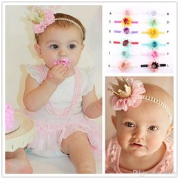 Crown For Infant NZ - 12 Colors Baby Headbands Flower Pearl Crown Headbands For Girls Infant Cute Kids Chiffon Headwrap Children Party Hair Accessories KHA432