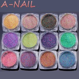color glitter tips 2019 - 12boxes set 2g box Nail Art Sugar Glitter Dust Powder 3D Pigments Sequins Polish Gel Girl Color Dazzling Nail DIY Pearl