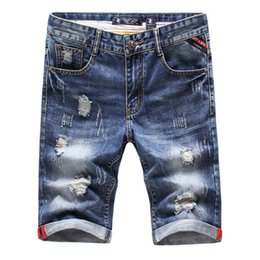China 2018 Summer Men's Fashion Hole Decoration Denim Shorts High Quality Goods Men's Blue Casual Beach Shorts Male Jeans Shorts Hot cheap male green jeans suppliers
