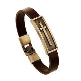China Punk Wristband Stainless Steel Bracelets Gold Cross Bracelet Leather Bracelets supplier stainless crosses suppliers