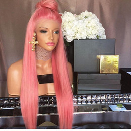 pink lace wigs Australia - pink Synthetic Lace Front Wig Heat Resistant Fiber Hair Synthetic Wigs Silky Straight Front Lace Wigs for Black Women 24Inch