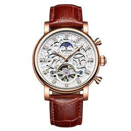 Glasses Trade Australia - Genuine KINYUED gold Yueda full automatic fashion with diamond insert genuine men hollowed-out machine watch foreign trade exploding