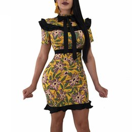 $enCountryForm.capitalKeyWord Canada - Yellow Floral Printed Sexy Pencil Dresses For Women Ruffles Short Sleeve Party Dress Summer Bow Tie Beach Bandage Vestido