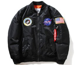 China Fall And Winter Hot Mens Casual Flight Pilot Short Coat Three Color Nasa Embroidery Baseball  Logo cheap organic cotton mens winter coats suppliers