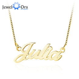 $enCountryForm.capitalKeyWord Australia - Name Necklace With Box Chain Commemorate Personalized Letter 925 Sterling Silver Pendant Necklace Gift (Jewelora Ne102047 )