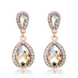 Fashion TearDrop Dangle Rhinestone Cubic Zirconia Earrings Rose Gold Plated Women Girl's Wedding Engagement Jewelry Gift