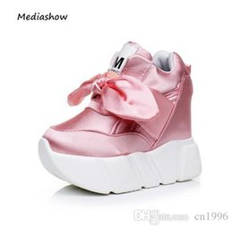 Discount platform closed wedges - New 2018 Autumn High Platform shoes Women Wedges Slip-On Casual shoes height increased female pink shoes