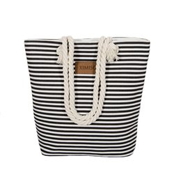 Stripe canvaS tote beach bagS online shopping - Girl Stripes Canvas Bag Shoulder Bag Large Capacity Female Beach Ladies Canvas Women s Casual Shopping Handbag