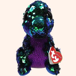 """Discount heart stuffed animals - Pyoopeo Ty Flippables 6"""" 15cm Crunch the Dinosaur Plush Regular Soft Big-eyed Stuffed Animal Collection Doll Toy wi"""