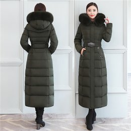 Wholesale Women s Down Jackets Ladies Winter Coats Duck Down Parkas Real Fur Hooded Outerwear Tops Belt New Fashion X Long
