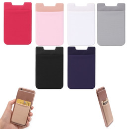 Discount holder stick - Silicone Wallet Credit ID Card Cash Holder 3M Gadget Pocket Pouch Stick-On Phone Pocket Stickers Mobile Phone