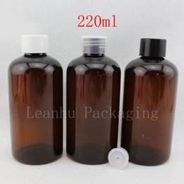 $enCountryForm.capitalKeyWord Canada - 220ml X 24 brown empty round packaging plastic bottles containers with stopper ,amber cosmetic bottle for shampoo ,liquid soap