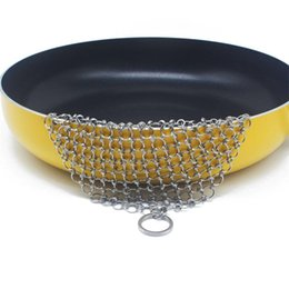 Dutch ovens online shopping - Sturdy Stainless Steel Chainmail Scrubber Round Square Cast Iron Cleaner Dutch Ovens Waffle Kitchen Tools Not Rusty lt2 BB