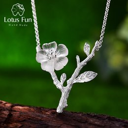 Plastic Rain Chain Australia - Lotus Fun Real 925 Sterling Silver Handmade Designer Fine Jewelry Flower in the Rain Necklace with Pendant for Women Collier Y18102910