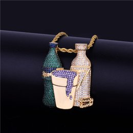Chain tennis online shopping - Iced Out Sprite Bottle Purple Cup Hip Hop Combo Pendant Necklace Gold Silver Color Cubic Zircon Men S Hip Hop Jewelry Free Tennis Chain