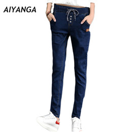 Jeans For Big Waist Canada - New 2017 Autumn Jeans For Women Pencil Pants Elastic Waist Lace UP Casual Denim Trousers Female Big Size pants