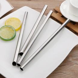 Ingrosso 304 Cannuccia per bere succo di tè in metallo in acciaio inox paglia paglia riutilizzabile 12mm x215mm spedizione gratuita QW7545