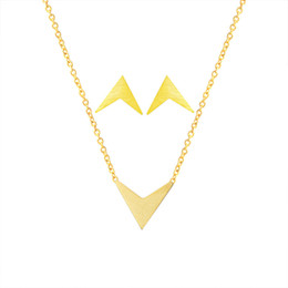 Discount v shape earrings - Minimalist Geometric Chevron V Shape Stud Earrings Pendant Necklace Women Men Jewelry Sets Stainless Steel Gold Silver S