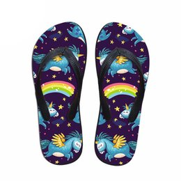 $enCountryForm.capitalKeyWord Australia - wholesale Fashion Unicorn Design Summer Slippers Woman Casual Women Slip-on House Flip Flops Flats Beach Water Shoes lady