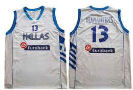 Dimitri Diamantidis  13 Greece Hellas Retro Classic Basketball Jersey Mens  Embroidery Stitched Custom any Number and name Jerseys 6d900d813