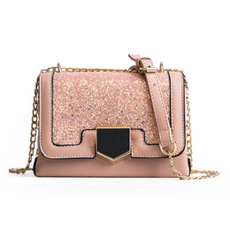 Shiny Sequin Bag Canada - Sequins Messenger bags Korean Fashion Shiny women  black lock small square 098f40fea8d6