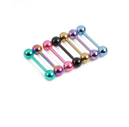 Surgical Steel nipple ringS online shopping - 7 per Sexy Barbell Tongue Piercing Balls Surgical Steel Industrial Piercing Tongue Ring Body Jewelry Nipple Rings Men Women