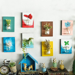 Painting Wall Ornaments Australia - Creative Wooden Glass Hydroponics Flower Vase Hand Painted Art Decoration Ornament Plant Artificial Flower Vases Wall Hanging