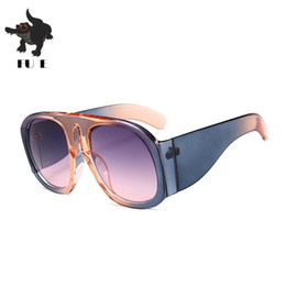 bf024d47f6c FU E 2018 Fashion sunglasses Women Flat top Style Brand Design Retro  sunglasses Men Gradient Tones Large Frame Shadow UV400