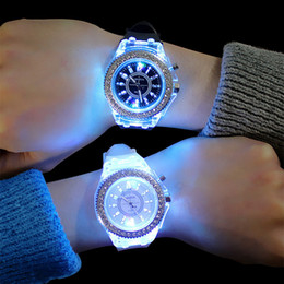 Blue geneva watch online shopping - Luminous diamond watch USA fashion trend men woman watches lover color LED jelly Silicone Geneva Transparent student wristwatch couple gift