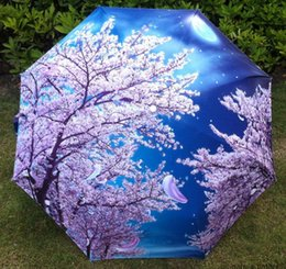 Raining paintings online shopping - 2015 Traditional Chinese Oil Painting Umbrella For women Anti uv Folding Animal Umbrellas cherry blossom flowers