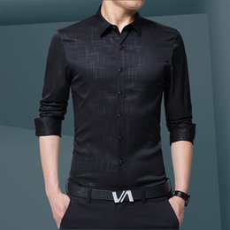 Discount smart clothing - Men Shirt Men Clothes Fashion 2018 Shirt Summer Business Shirts Black Smart Casual Slim Fit Mens Long Sleeve Shirts ZT18