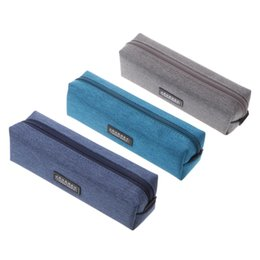 Discount office boxes - 1Pc New Simple Pencil Case Large Capacity Canvas Pencil Box Supplies Stationery High Quality
