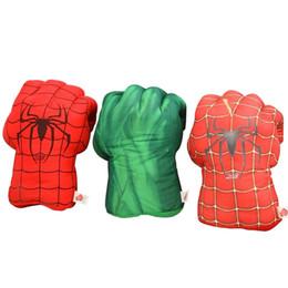 "$enCountryForm.capitalKeyWord UK - 1 pair 11"" 28cm Incredible Hulk & Spiderman Smash Hands Plush Punching Boxing Fist Gloves Superhero Plush Toys"