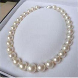 6c11ee224328 Joyería de perlas finas fina NATURAL larga 13-16 mm perfecta ronda mar del  sur blanco collar de perlas 14 K