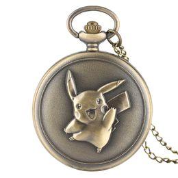 $enCountryForm.capitalKeyWord Australia - Bronze Lovely Pikachu Design Men Women Fob Pocket Watch Quartz Full Hunter Pendant Necklace New Arrival Clock Gift for Kids