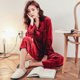 $enCountryForm.capitalKeyWord Australia - Home Clothes Soft Gold Velvet Women Pajamas Set 2018 Autumn Winter Sleepwear Long Sleeve Pink Pyjamas 2 Pieces Set Pijama Mujer
