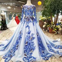 Ingrosso 2019 Blue Mothers Of Brides Abiti O-Collo lungo Tulle Maniche Lace Up Back A-Line Colore Musulmano Abiti da sera Foto reali Spedizione gratuita