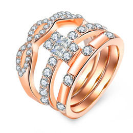 Discount gold knuckles - 3pcs  pack fixed size lady's rose gold alloy knuckle ring set