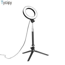 Ingrosso Tycipy Ring Light LED Fotografia Selfie Light Foto Videocamera Mini lampada da tavolo con treppiede Cavo di alimentazione USB per il trucco