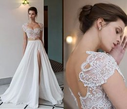wedding dresses two slits 2019 - 2018 Boho Two Pieces Wedding Dresses Riki Dalal Lace Pearls Beading Formal Summer Beach Bridal Gowns Sexy Scoop Neck Bac