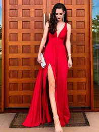 red evening dresses for women Australia - Hot Selling V Neck Sweep Train Split Side Sleeveless Prom Dresses Evening Dress for Women in Stock