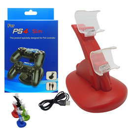 Wholesale Dual Game Controllers Charging Dock Stand Station for PS4 Game Gaming Wireless Controller Console Colorful Mount with LED Light