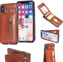 Iphone vertIcal pouch online shopping - For Iphone XR XS MAX X Galaxy S10 S10e Note9 Card Pocket Wallet Leather Cases Vertical Zipper Cash ID Slot Holder Cover Flip Luxury
