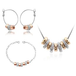 $enCountryForm.capitalKeyWord NZ - 2017 New Arrival Bead Bracelet Earrings And Necklace Set Ausrian Crystal Bridesmaid Jewelry Set Lady Vintage Jewellery Sets Gift